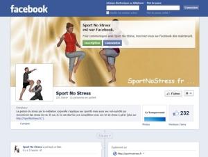 Page Fan de Sport No Stress sur Facebook
